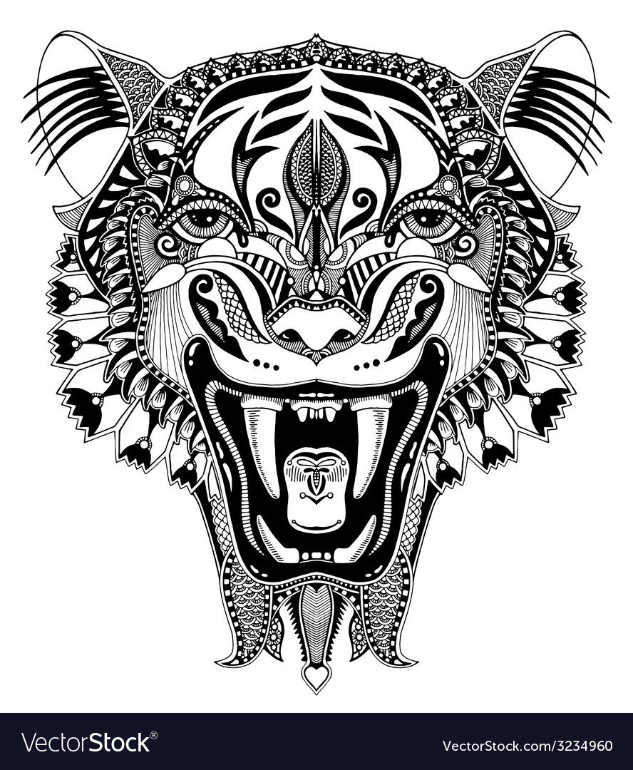 Original black head tiger drawing with the opened vector | Price: 1 Credit (USD $1)