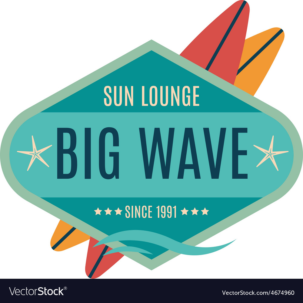 Retro style surfing labels logos vector   Price: 1 Credit (USD $1)