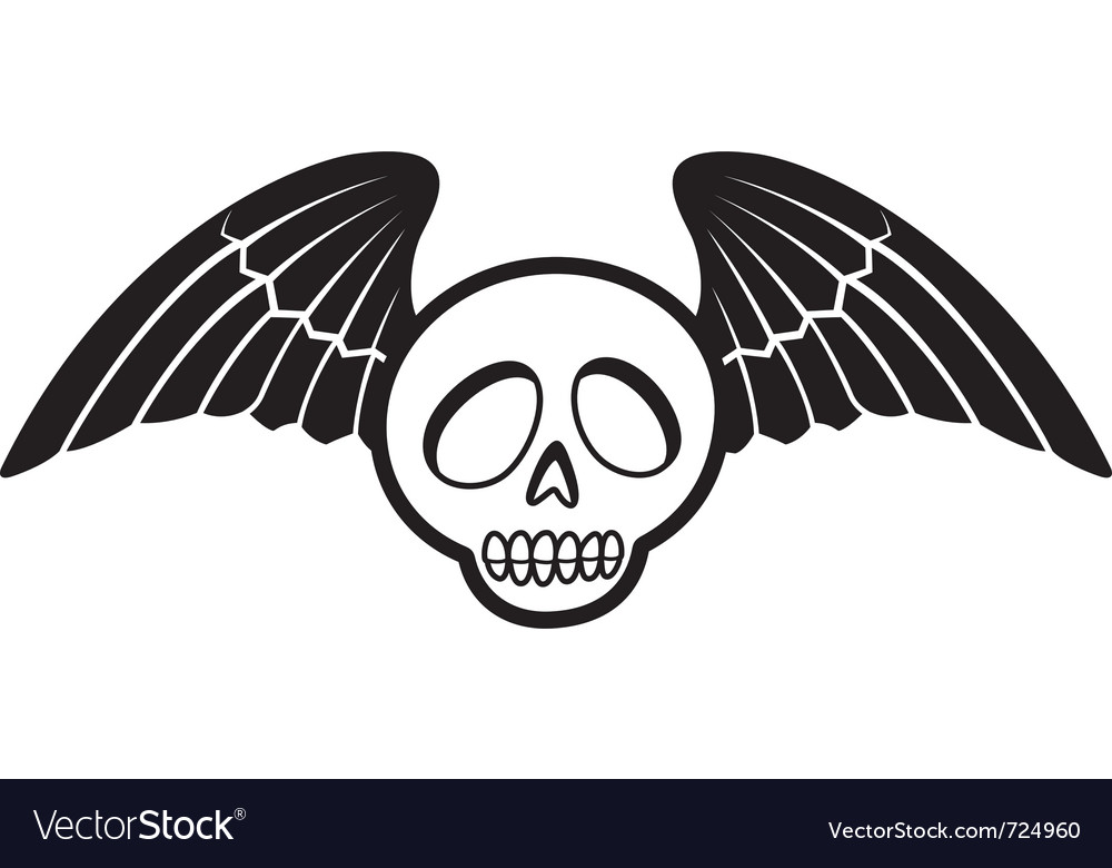 Skull with wings two vector | Price: 1 Credit (USD $1)