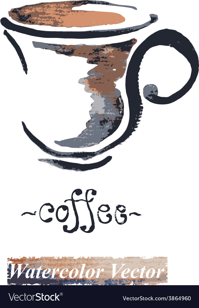 Watercolor painted a cup of coffee vector | Price: 1 Credit (USD $1)