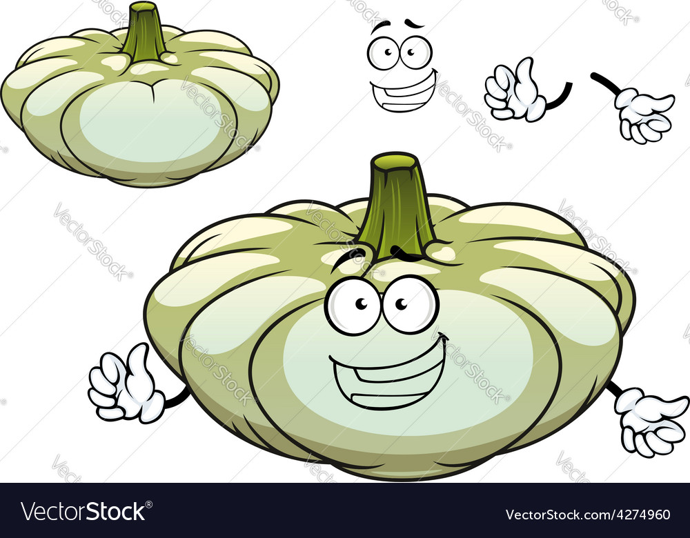 White pattypan squash vegetable cartoon character vector | Price: 1 Credit (USD $1)