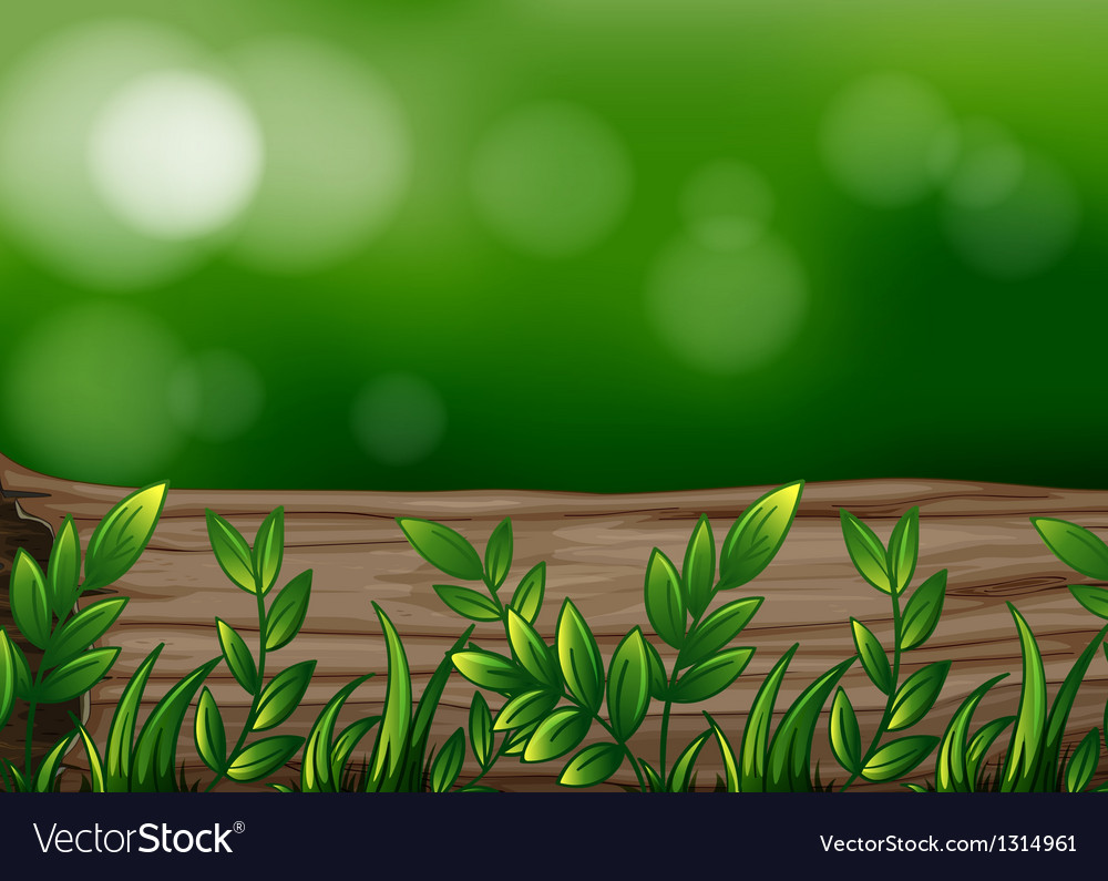 A big trunk with plants vector | Price: 1 Credit (USD $1)