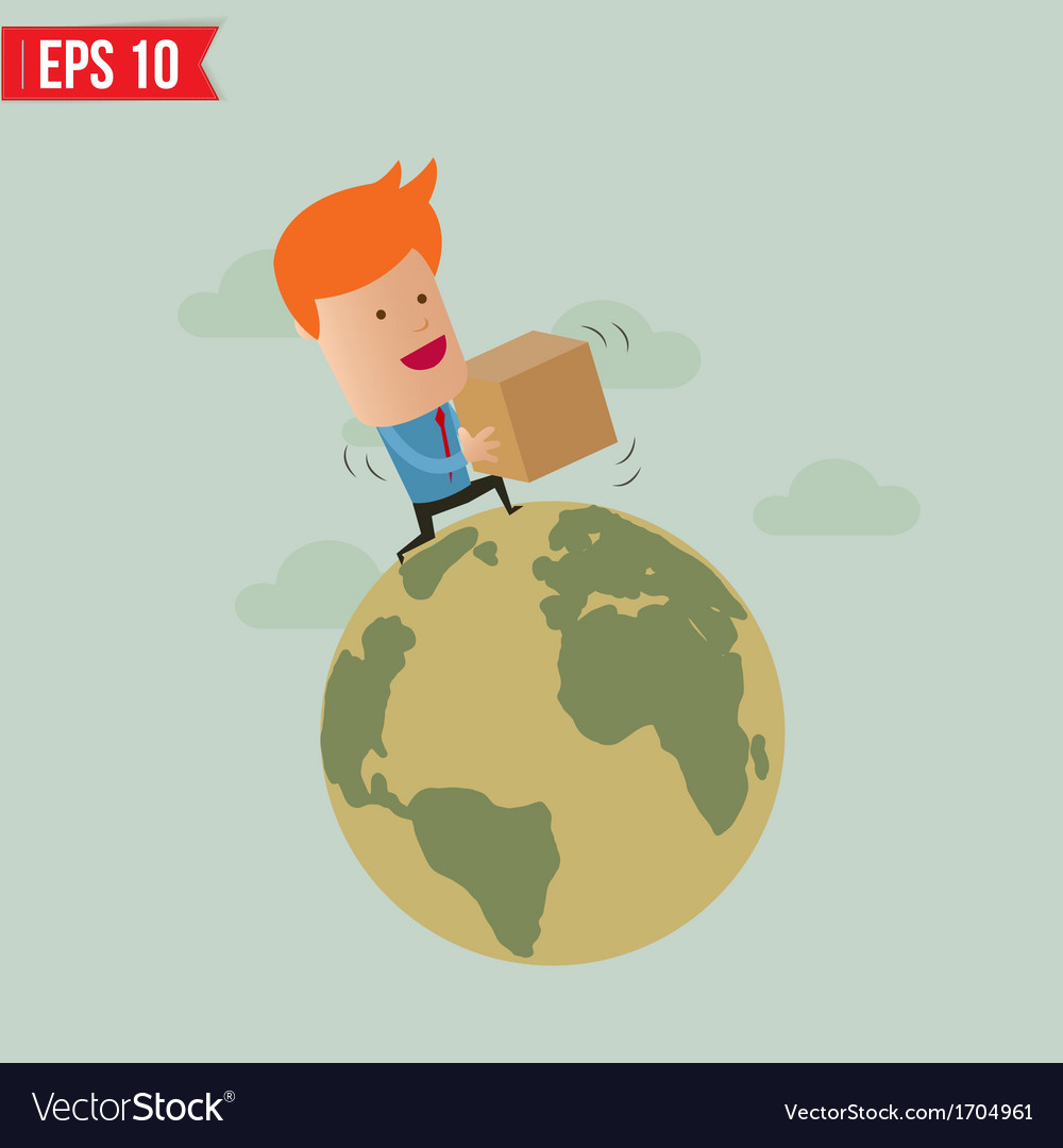 Business man deliver box - - eps10 vector | Price: 1 Credit (USD $1)