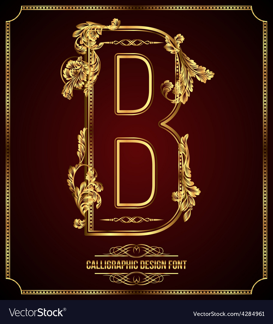 Calligraphic font letter b vector | Price: 3 Credit (USD $3)