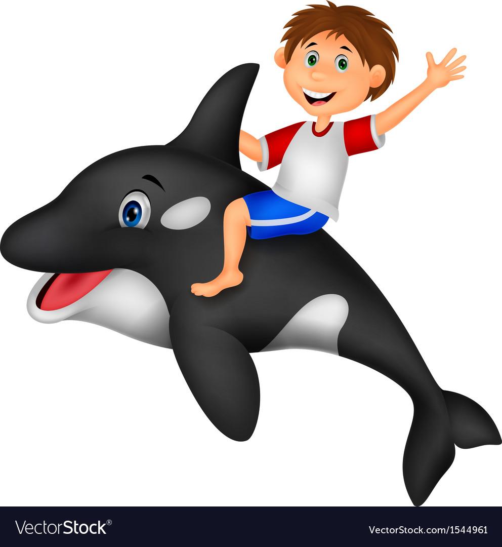 Cartoon boy riding orca vector   Price: 1 Credit (USD $1)