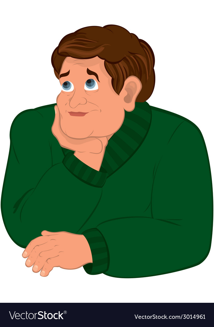 Cartoon man in green sweater torso holding chin vector | Price: 1 Credit (USD $1)