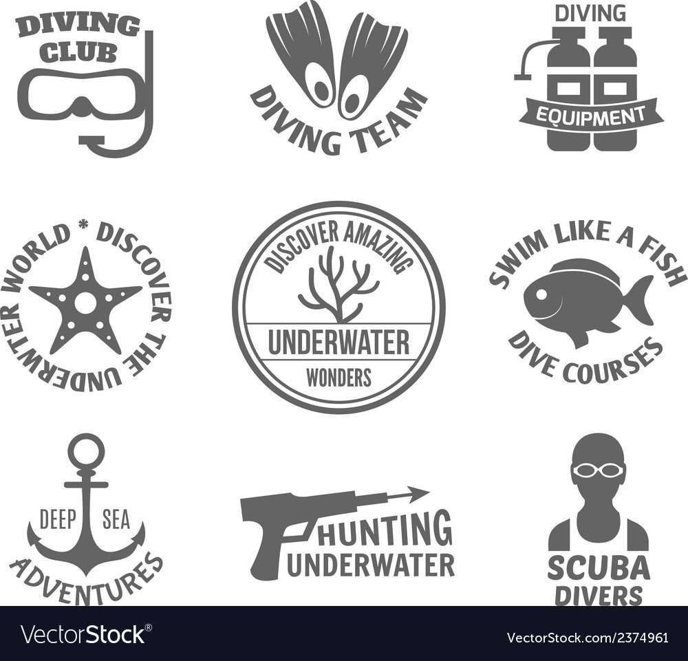 Diving label set vector | Price: 1 Credit (USD $1)