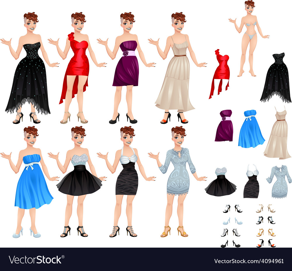 Female avatar with dresses and shoes vector | Price: 1 Credit (USD $1)