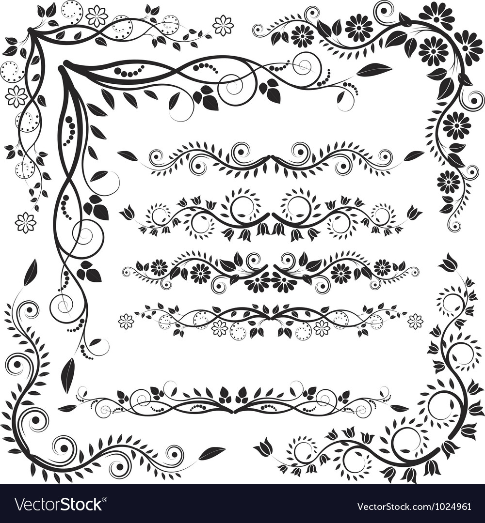 Floral corners and borders vector | Price: 1 Credit (USD $1)