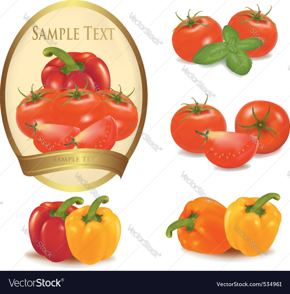 Gold label with vegetables vector | Price: 3 Credit (USD $3)