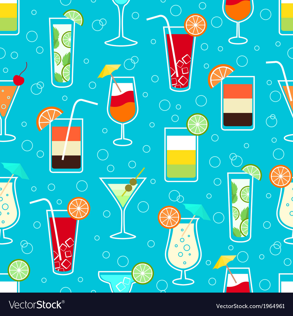 Seamless pattern with alcohol cocktail drinks vector | Price: 1 Credit (USD $1)