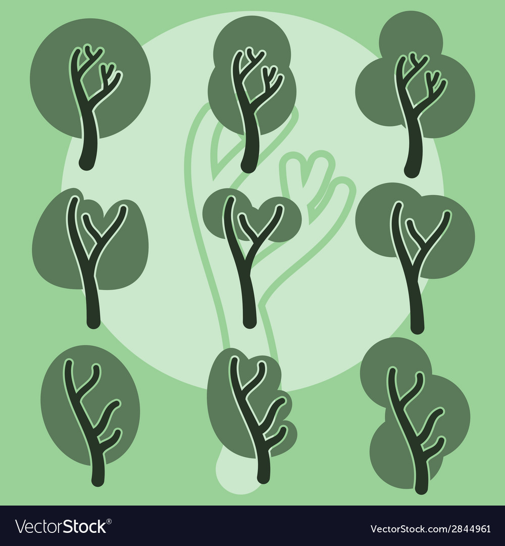 Set of cute doodle trees original cartoon tree vector | Price: 1 Credit (USD $1)