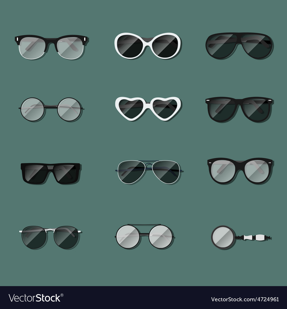 Set of realistic glasses vector | Price: 1 Credit (USD $1)