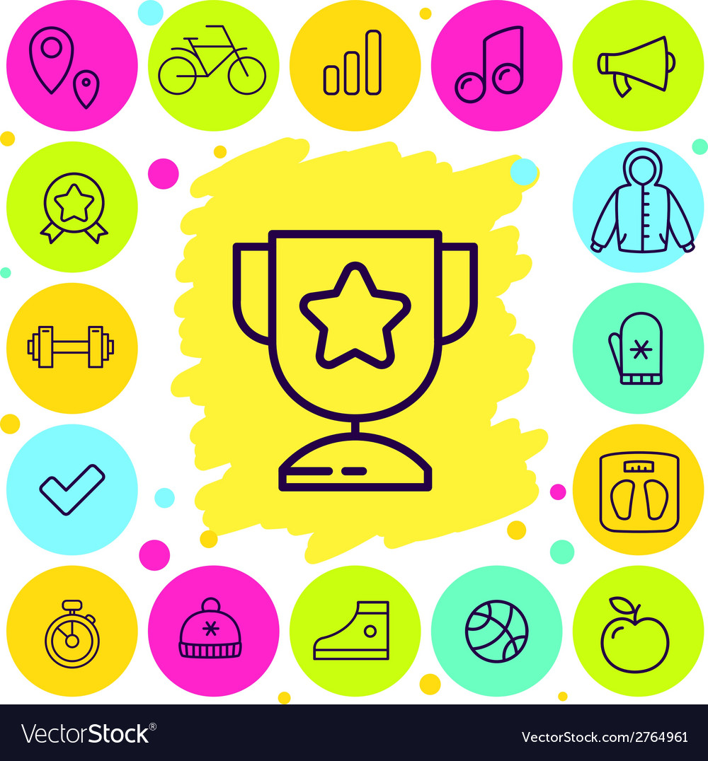 Set of sport and award icons vector | Price: 1 Credit (USD $1)