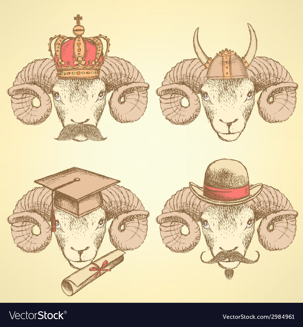 Sketch unusual rams set vector | Price: 1 Credit (USD $1)