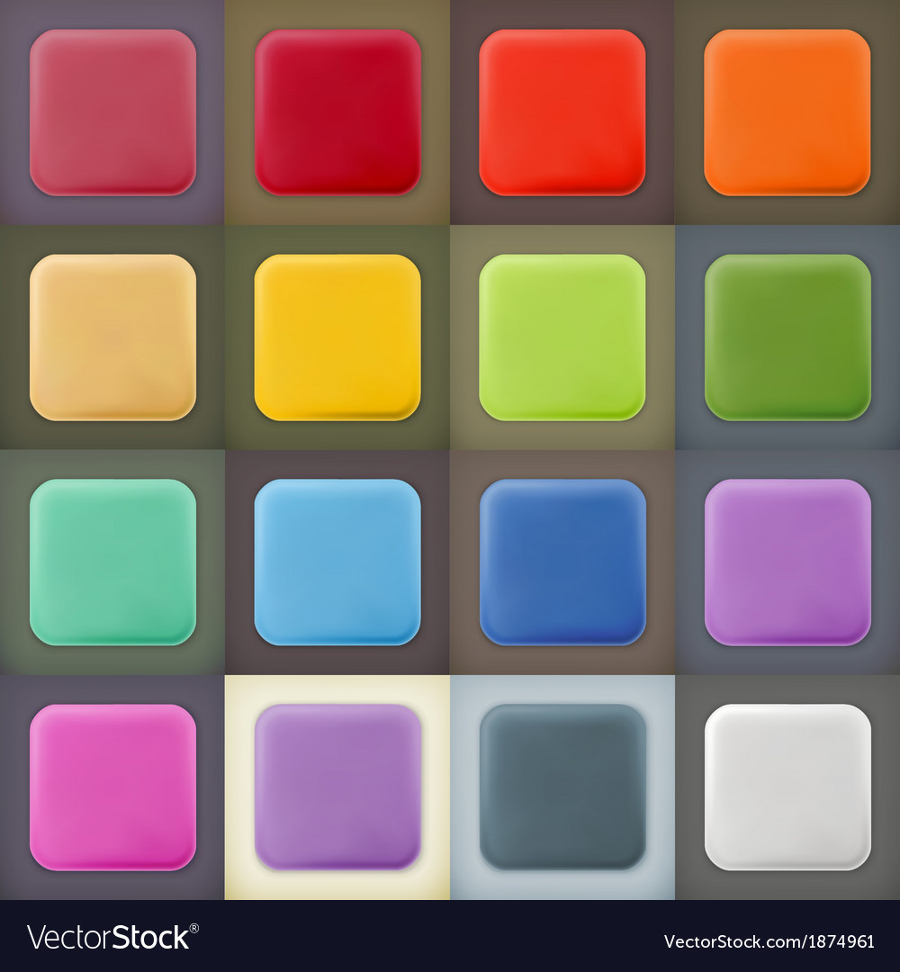 Square empty blanks web icons and buttons vector | Price: 1 Credit (USD $1)