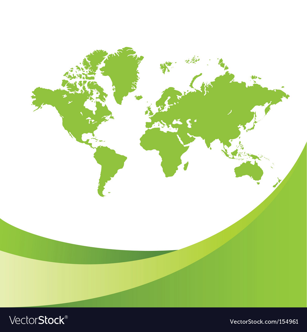 World map green background vector | Price: 1 Credit (USD $1)
