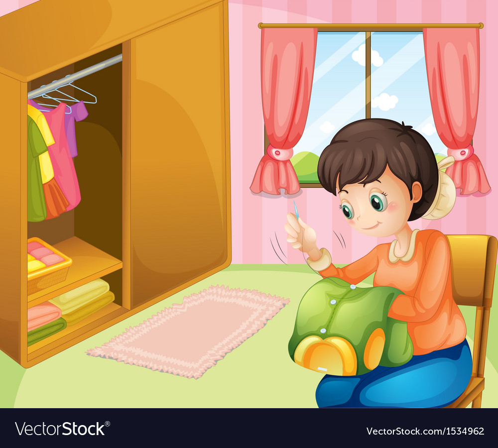 A mother sewing near the cabinet vector   Price: 1 Credit (USD $1)