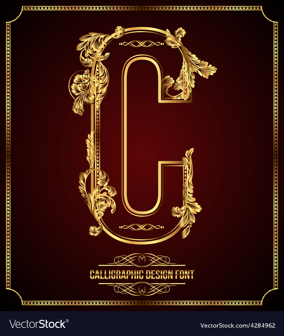 Calligraphic font letter c vector | Price: 3 Credit (USD $3)