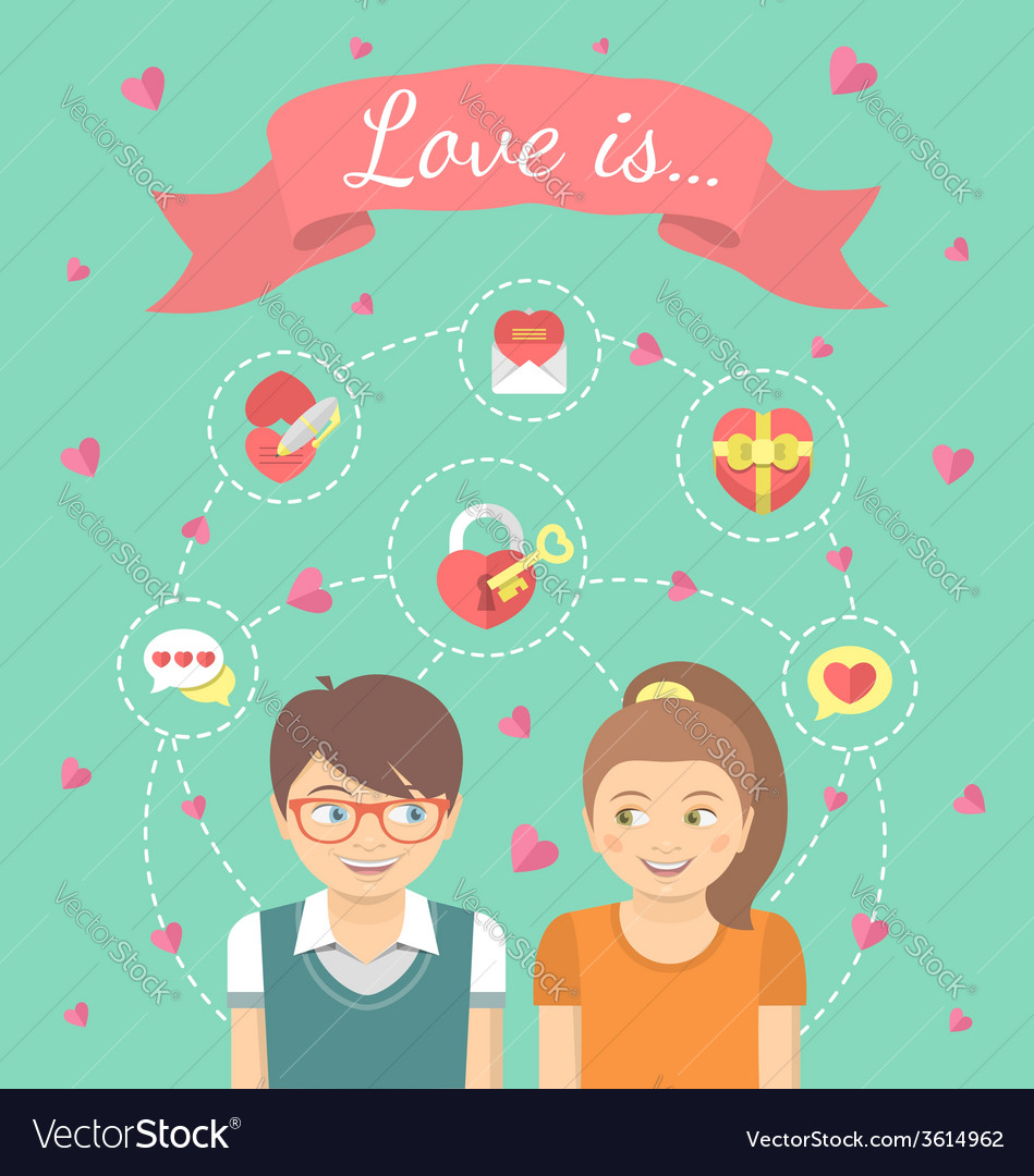 Dating conceptual with love icons vector | Price: 1 Credit (USD $1)