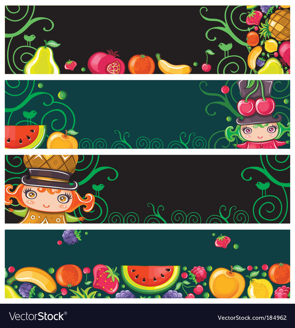Fruit banners vector | Price: 3 Credit (USD $3)