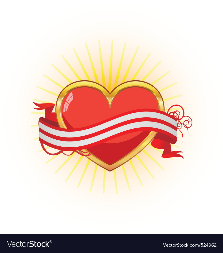 Gold heart with ribbon vector | Price: 1 Credit (USD $1)