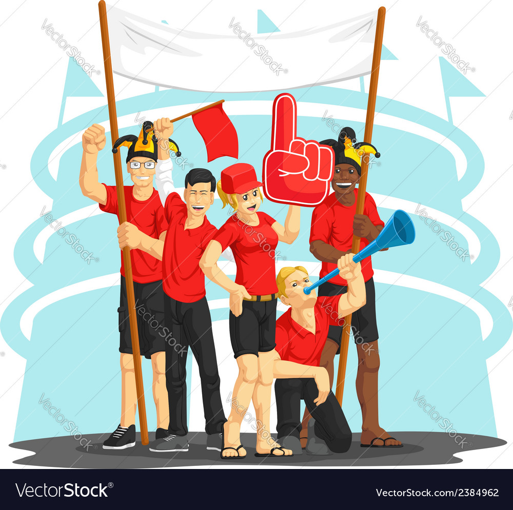Group of fans cheering with foam finger vuvuzela vector | Price: 1 Credit (USD $1)