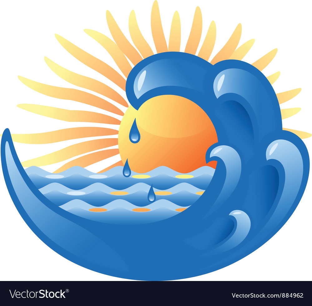 Sun and sea vector | Price: 1 Credit (USD $1)