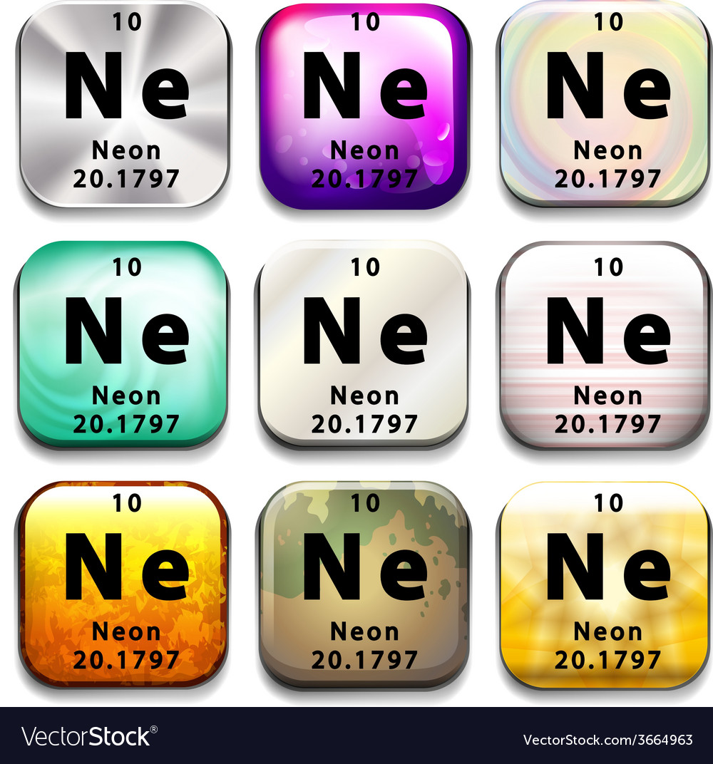 A periodic table button showing neon vector | Price: 1 Credit (USD $1)
