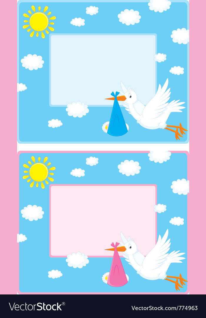 Border with a stork and newborn child vector | Price: 3 Credit (USD $3)