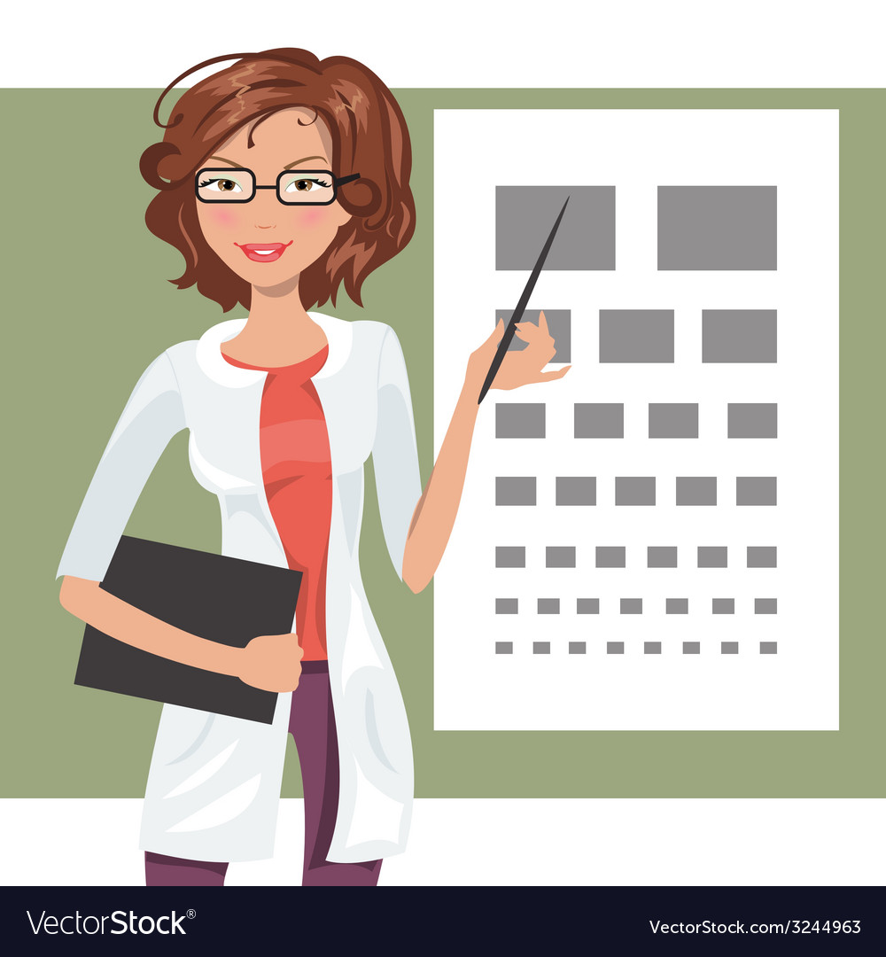 Cartoon girl ophthalmologist vector | Price: 1 Credit (USD $1)