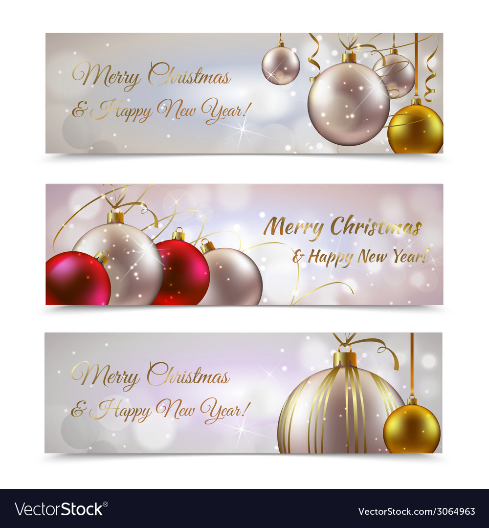 Christmas banners horizontal vector | Price: 1 Credit (USD $1)