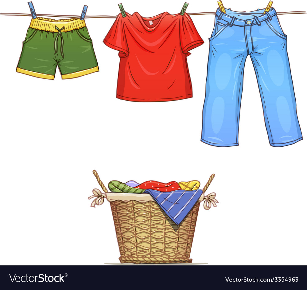Clothes on rope and basket vector | Price: 1 Credit (USD $1)
