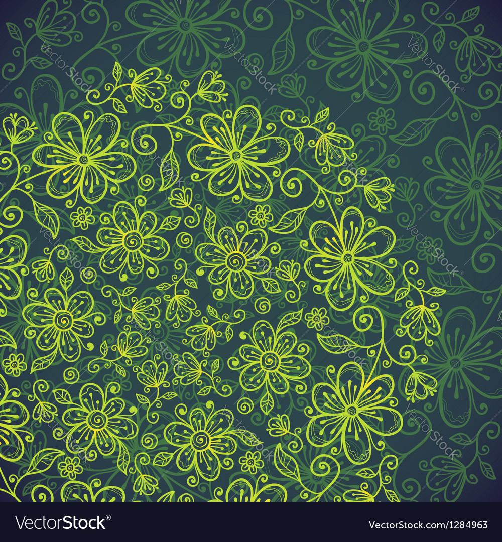 Dark green lacy vintage flowers background vector | Price: 1 Credit (USD $1)