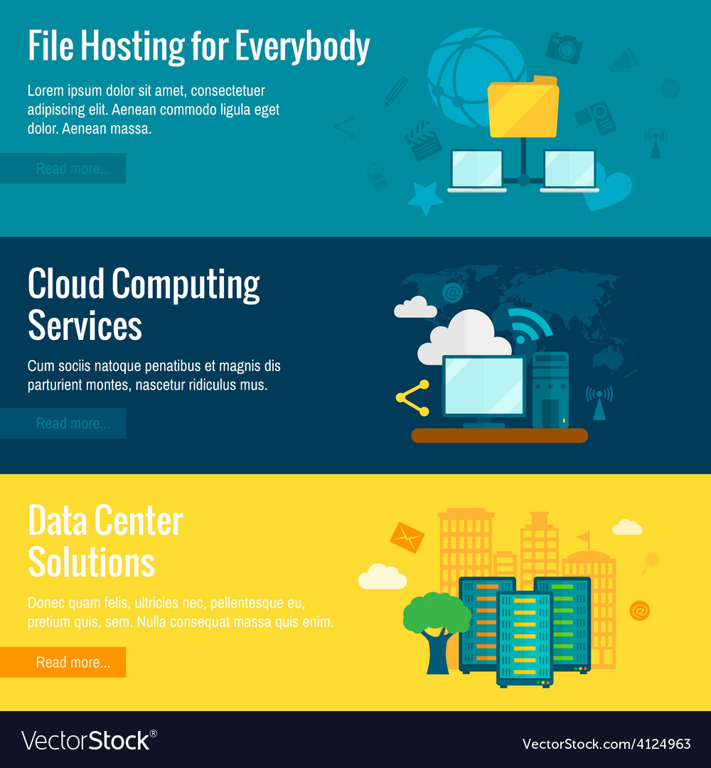 File hosting flat banners set vector | Price: 1 Credit (USD $1)