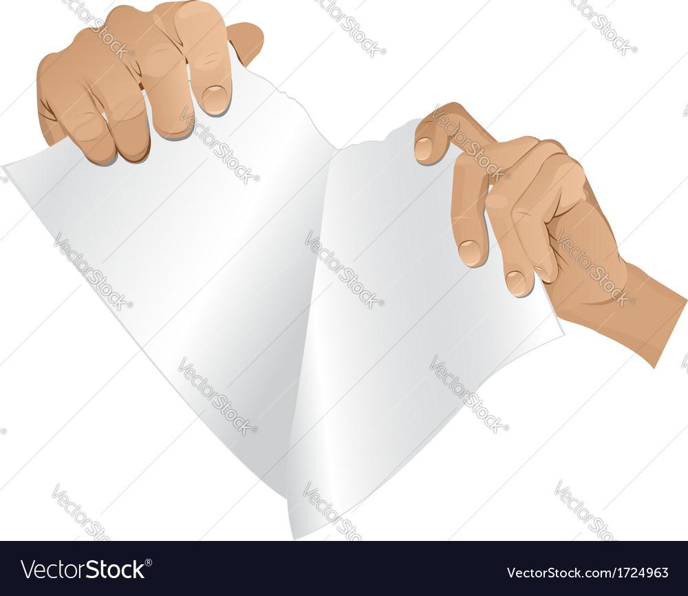 Man hands tear paper version 2 vector | Price: 1 Credit (USD $1)
