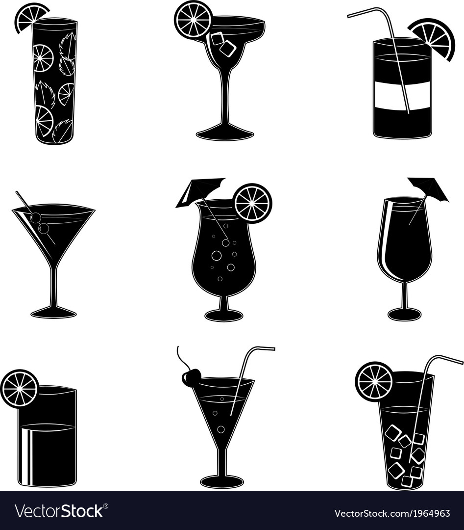 Pictograms of party cocktails with alcohol vector | Price: 1 Credit (USD $1)