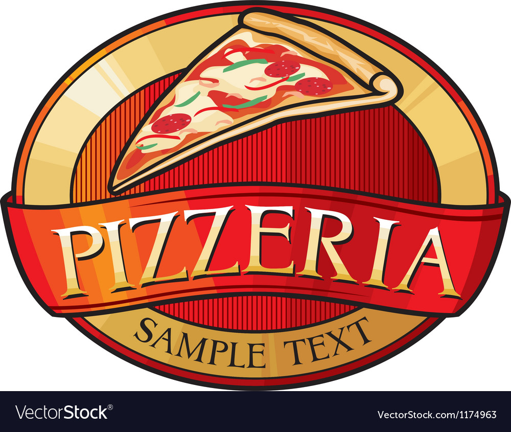 Pizzeria label design vector | Price: 1 Credit (USD $1)