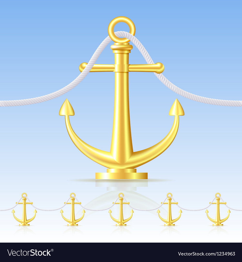 Seamless fence featuring an gold anchor vector | Price: 1 Credit (USD $1)