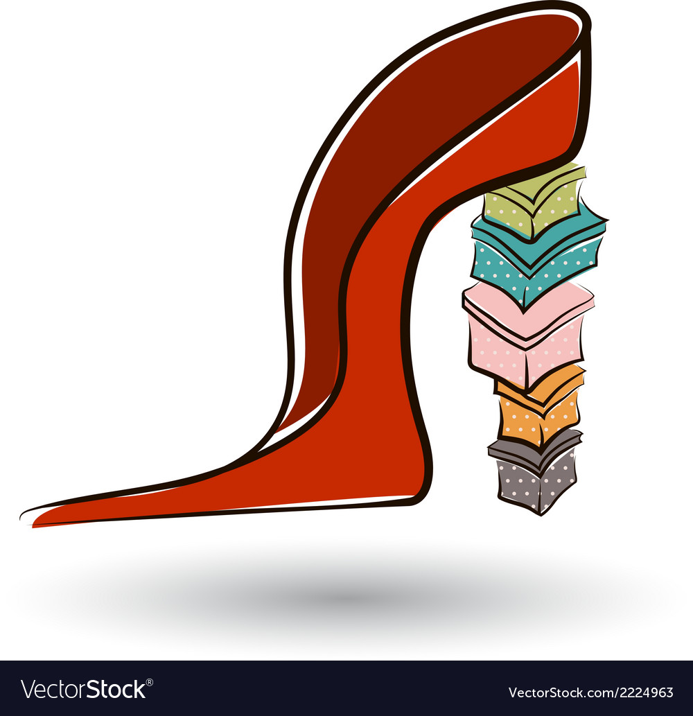 Shoe on a high heel with boxes vector | Price: 1 Credit (USD $1)