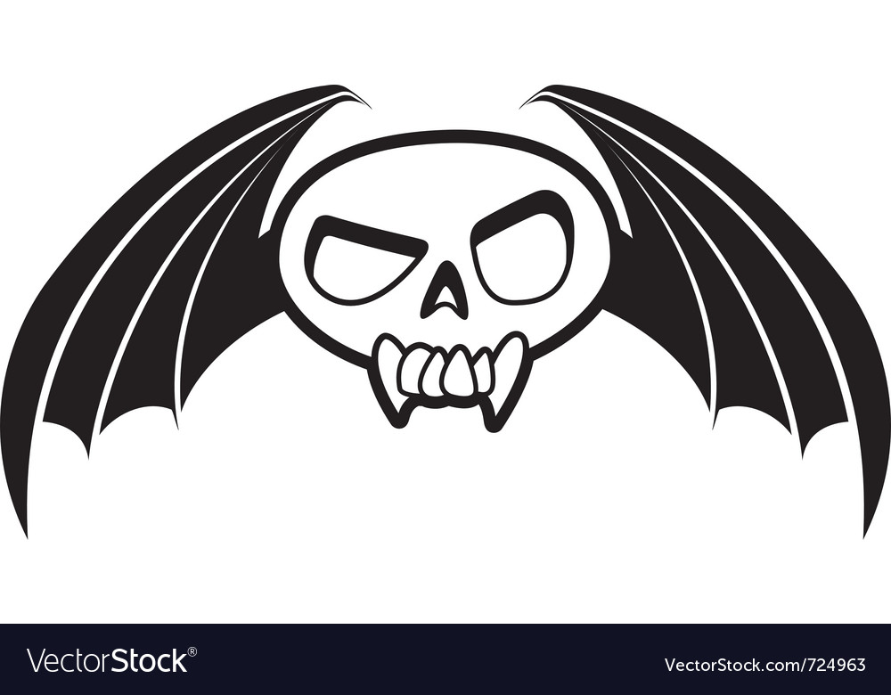 Skull with wings three vector | Price: 1 Credit (USD $1)
