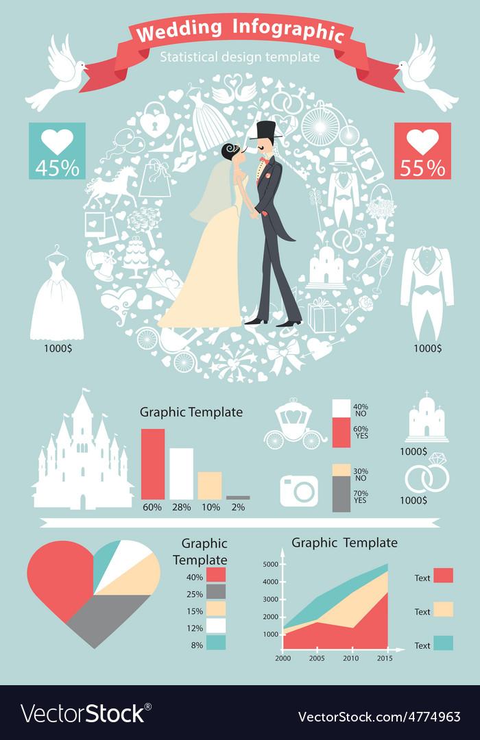 Wedding infographics setretro bridegroomicons vector | Price: 1 Credit (USD $1)