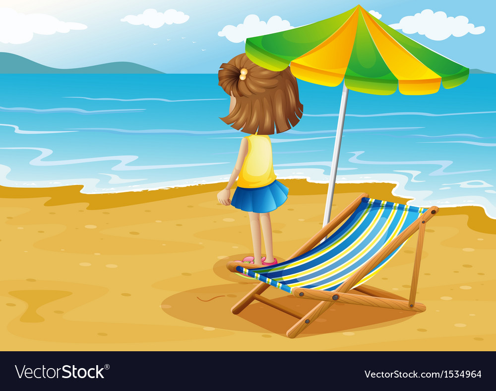 A girl at the beach with a foldable chair and an vector | Price: 1 Credit (USD $1)