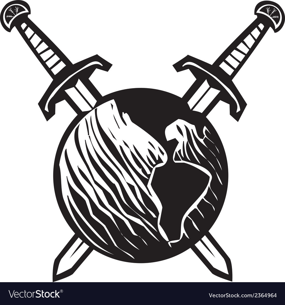 Crossed swords earth vector | Price: 1 Credit (USD $1)