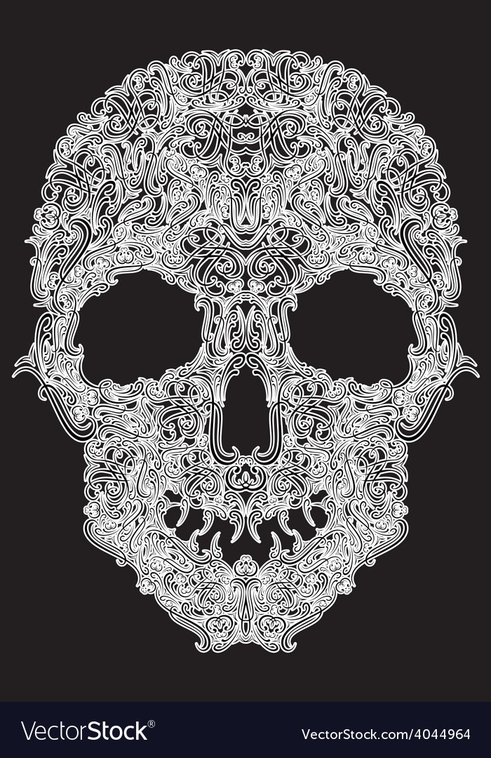 Human skull from floral elements on a black vector | Price: 1 Credit (USD $1)
