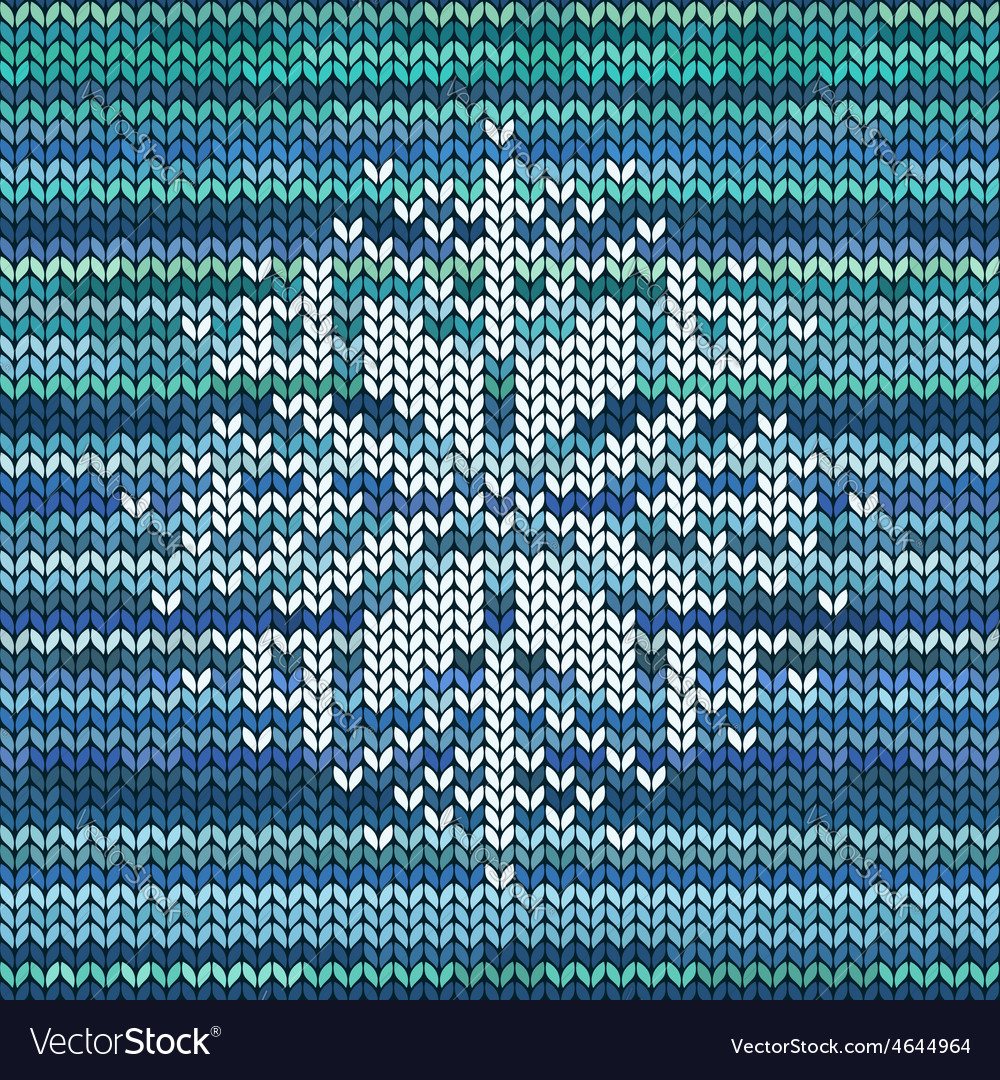Knitted seamless pattern with snowflake vector | Price: 1 Credit (USD $1)