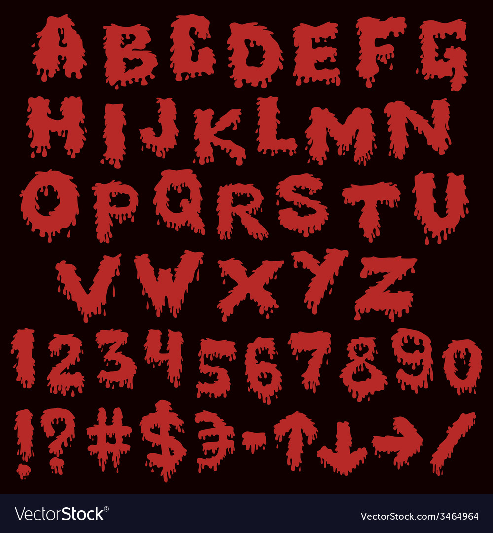 Red font smudges alphabet splashing vector | Price: 1 Credit (USD $1)