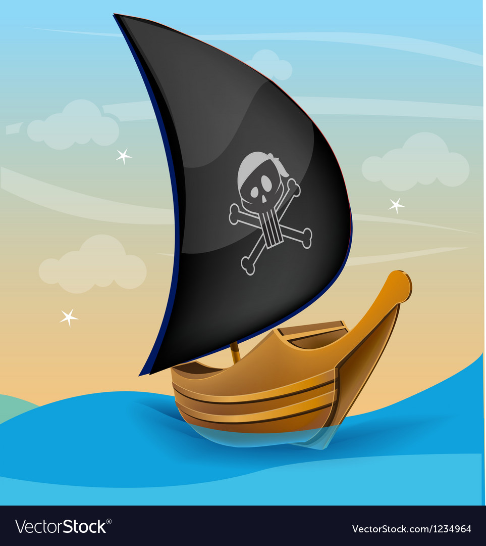 Sail boat with pirate symbol on a sunset vector | Price: 1 Credit (USD $1)