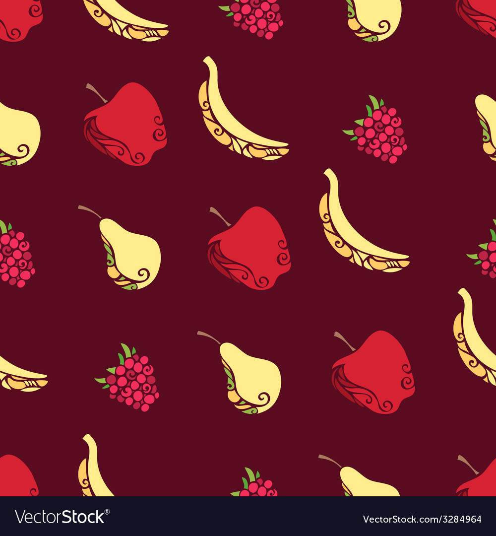 Seamless pattern of fruits and berries on brown vector | Price: 1 Credit (USD $1)