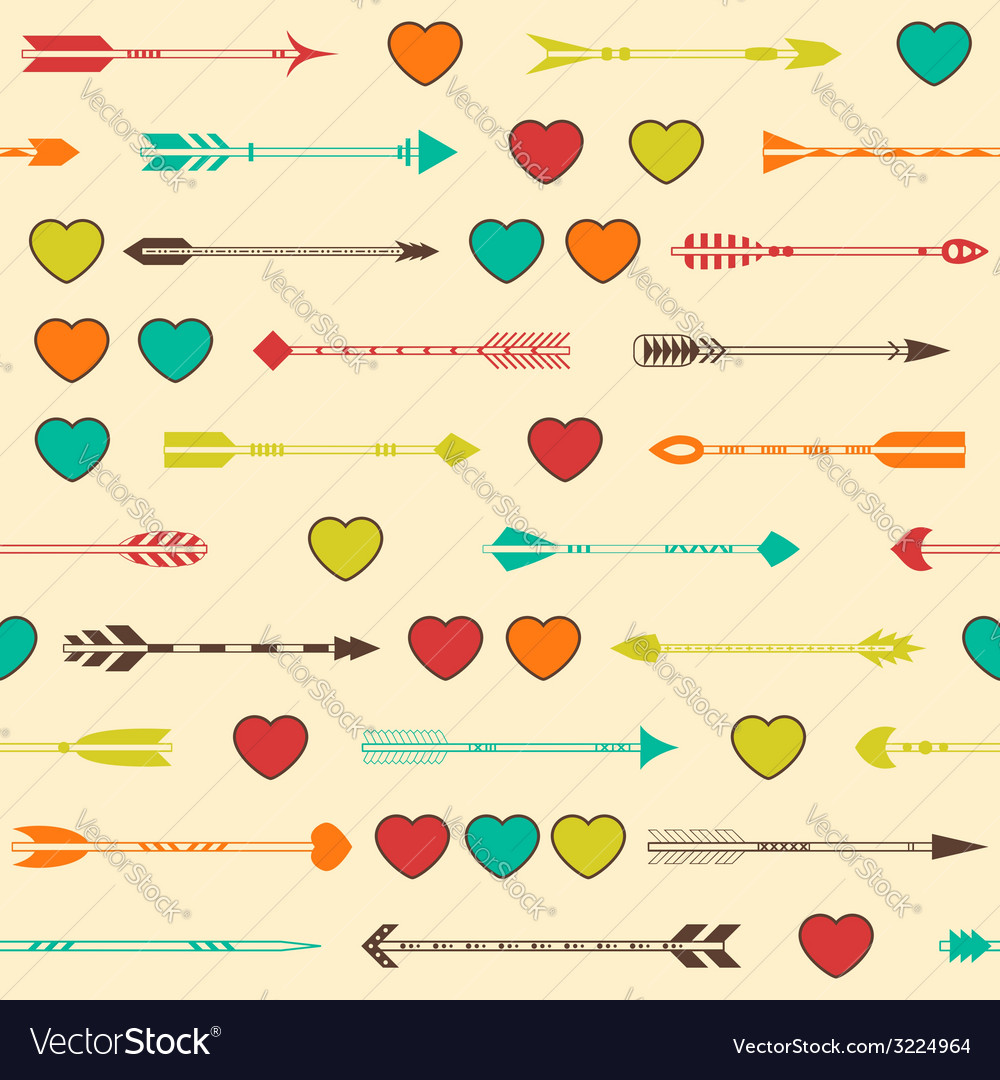 Seamless pattern with indian arrows and hearts in vector | Price: 1 Credit (USD $1)